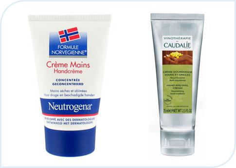 Crème de soin pour les mains Neutrogena et Caudalie