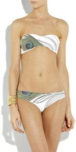 Bikini imprimé plume de paon
