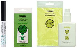 Stylo imperfections, feuilles de savon et spray jambes, Sephora