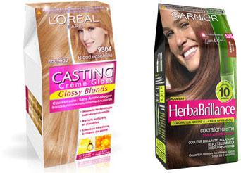 Colorations semi-permanentes Casting Crème Gloss L'Oréal et Herbabrillance Garnier