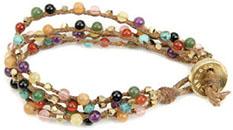 Bracelet lin et pierres semi-précieuses, Dogeared