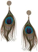 Boucles d'oreilles plumes de paon