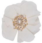 Broche Fleur, perles et strass