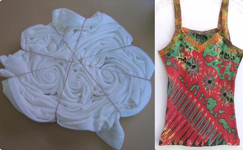 pliages et débardeur realisé selon la technique du tie dye