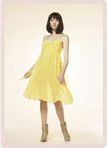 Robe soie jaune