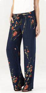 Pantalon en soie fleurie Massimo Dutti