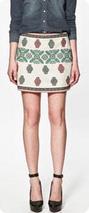 Jupe courte ethnique Zara