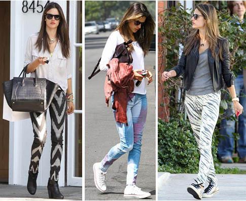 leçon de style par la belle Alessandra Ambrosio qui pratique le  pantalon imprimé façon grande classe. Trois looks impeccables, décontractés  mais stylés,