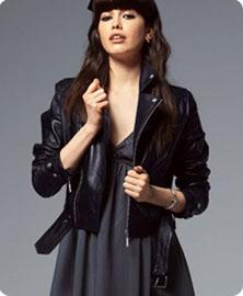 Veste en cuir femme epaulette