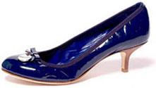 Escarpin cuir verni bleu