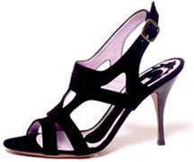 Sandale cuir velours noir