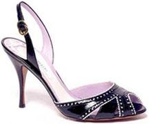 Sandale cuir noir et blanc