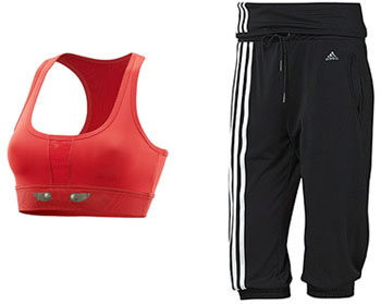 Brassière de sport rouge et corsaire stylé Adidas