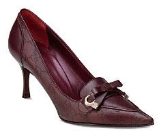 escarpins de cuir marron Gucci