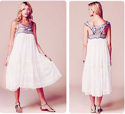 Robe en coton blanc Free People