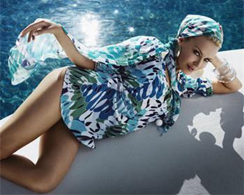 Accessoires de plage bleu vert tunique pareo bikini foulard